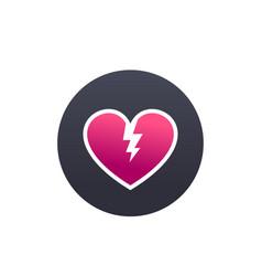 broken heart heartbreak round icon vector image