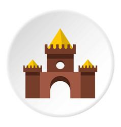 Brown castle icon circle vector