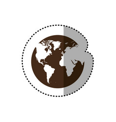 Brown planet earth with continets icon vector