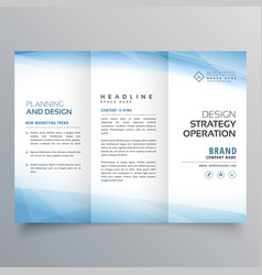 Business blue trifold brochure design template vector