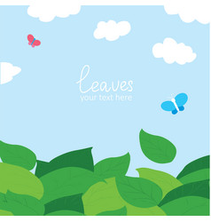 cartoon background of green leaves and blue sky vector image