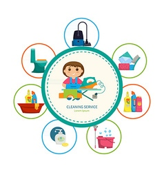 Cartoon girl with a set of objects for cleaning vector