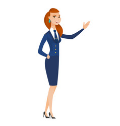 Caucasian stewardess showing a direction vector