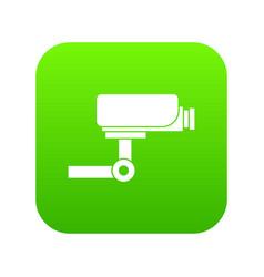 cctv camera icon digital green vector image