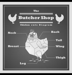 Chicken cuts diagram Butcher shop background vector