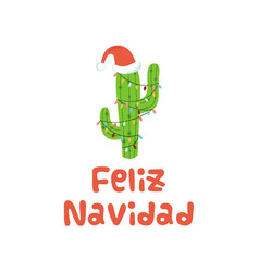 christmas cactus in santa hat banner text merry vector image
