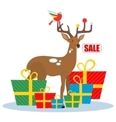 Christmas sale deer vector image