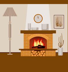 Classic brick fireplace vector