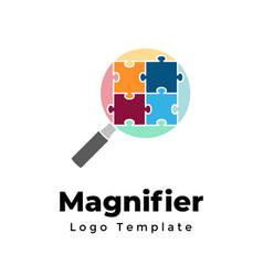 Creative magnifier logo template abstract vector
