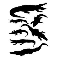 crocodile silhouette vector image