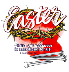 Crown of thorns nails easter religious symbol of vector