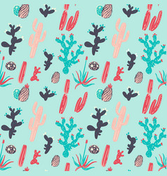 cute cactus and succulent pattern vector image