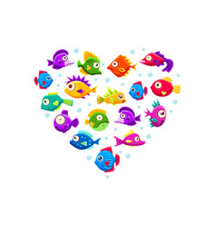 cute colorful tropical fishes heart shape vector image