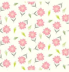Cute floral pattern with childish pink flowers vector