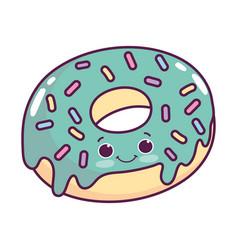 Cute food donut sweet dessert kawaii cartoon vector