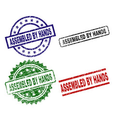 damaged textured assembled by hands seal stamps vector image