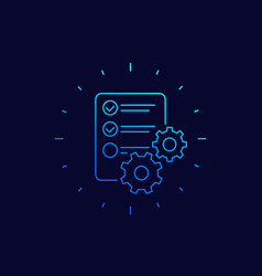 data processing icon linear vector image