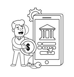 digital banking services online tools smatphone vector image