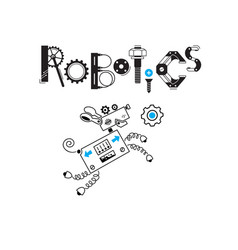 Dog cute robot and the inscription robotics vector