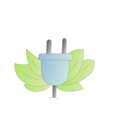 electric plug with green leaves cartoon vector image