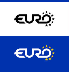 euro word text logo with stars flag colors letter vector image