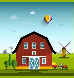 farm cartoon flat design rural scene with vector image