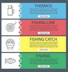 Fishing web banner templates set vector