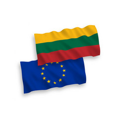 flags of lithuania and european union on a white vector image