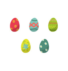 Flat decorated easter egg set icon isolated vector