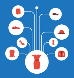 flat icons boots apparel gumshoes and other vector image