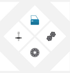 flat workshop set of automobile part brake disk vector image