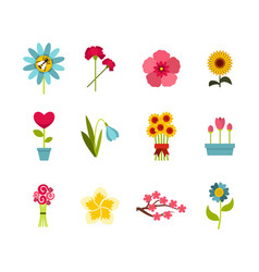 flower icon set flat style vector image