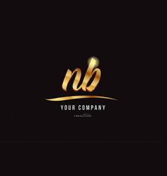 Gold alphabet letter nb n b logo combination icon vector