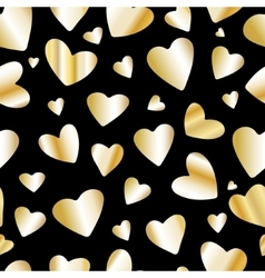Golden foil heart seamless pattern vector image