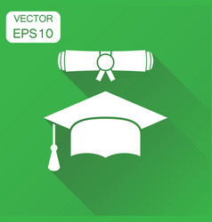Graduation cap and diploma scroll icon business vector