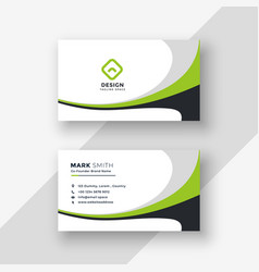 Green wavy professional business card design vector