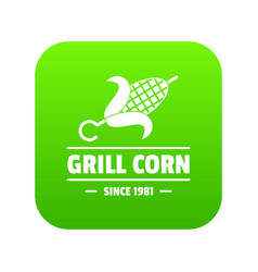 Grill corn icon green vector