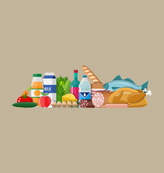 grocery set meat fish salad bread milk vector image