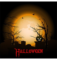 Halloween background with moon graveyard and text vector