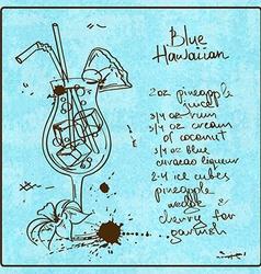 Hand drawn Blue Hawaiian cocktail vector