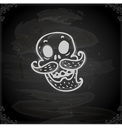 Hand Drawn Skull with Facial Hair vector