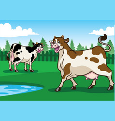 Happy cow in the field vector