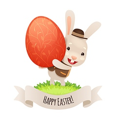 Happy easter bunny with red egg vector