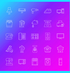 household appliance line icons vector image