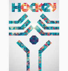 Ice hockey colorful triangle geometric poster vector