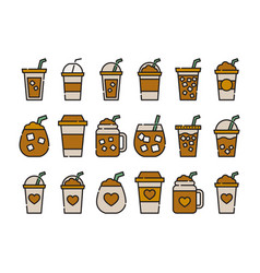 iced coffee cup icon colorline design coffee mug vector image
