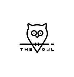 icon or owl logo in thin line style vector image