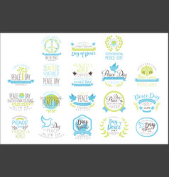 international peace day set of label designs in vector image