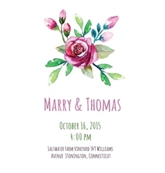 invitation card with watercolor floral vector image
