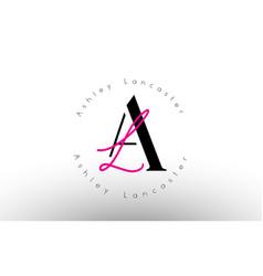 Letter al signature minimalistic monogram logo vector